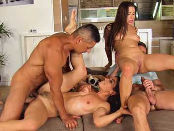 Eurobabe Ally and Julia Roca getting fucked by college studs