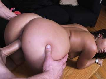 Golden skinned Bella Danger gets her hole plowed in doggystyle