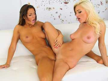 Lesbian one on one action with a sexy brunette Val Midwest and a hot blonde Cameron Dee