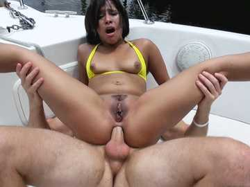 Deep anal fucking on the boat with a sexy brunette Latina Penny Nichols
