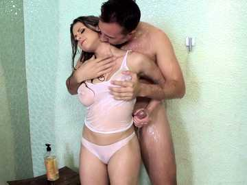 Dirty stepsister Rachel Roxxx doing naughty blowjob for her stepbrother in a shower