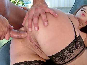 Busty slut Nikki Waine is ready for some nasty asshole drilling in sideways pose