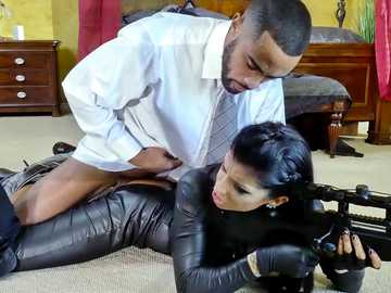 Special agent in leather bodysuit Romi Rain gets fucked on a mission by her boss