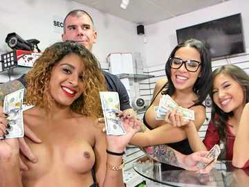 Hot ebony Pauly shows her natural tits for the money to Pauly and Dylan Daniels