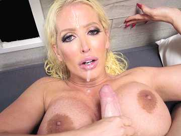 Alura Jenson rubs cock with her big tits in the POV titjob video by MILF