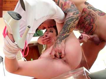 The tattooed guy removes pink panties of Angel Smalls and bangs her missionary style