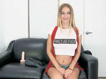 Beautiful long-haired blonde Natalia Starr comes to agent studio and shows her majestic jugs