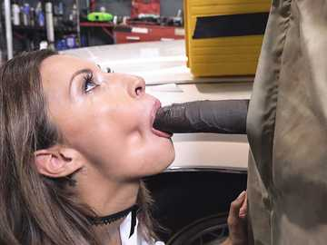 Delicious brunette Jade Jantzen gets on knees and sucks the long black cock