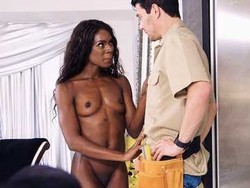 Seductive black beauty Ana Foxxx gets Xander Corvus' cock in her mouth