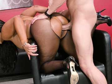 Business woman with huge boobs Mary Jean is rammed from behind by Xander Corvus