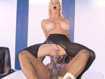 Busty Alexis Fawx takes a reverse cowgirl ride on the black monster cock
