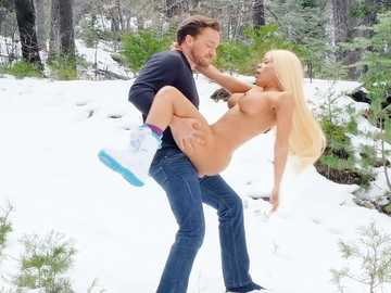 Busty blonde Luna Star is fond fucking in the snow high in the mountains