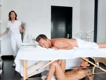 Honey Gold has surprise for her BF and uses usual massage table as milking table