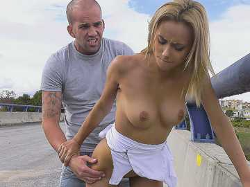 Bridge is the best place for spontaneous public sex of Latina teen Veronica Leal
