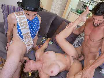 Woman Krissy Lynn gets fucked by her husband and stepson celebrating New Year