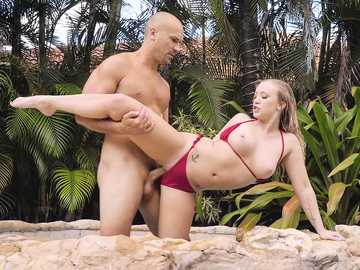 Extravagant blonde Bailey Brooke in red bikini fucked by boyfriend Sean Lawless