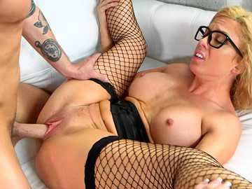 Geeky blonde in black stockings Parker Swayze squeezes her boobs during hardcore banging