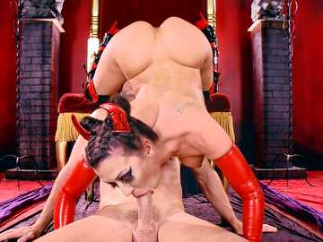 Hellish creature with chubby butt Rachel Starr rides Johhny Sins in purgatory