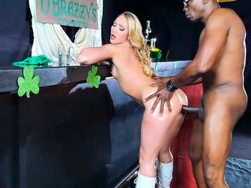 Bubble butted AJ Applegate takes a messy, oil-drenched anal pounding with his black pecker