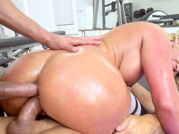 Two ravenous dicks slides into both holes of big ass Phoenix Marie