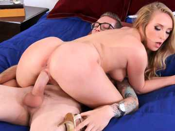 Curly blonde Harley Jade is seduced by the thick dart of love and rides it hard