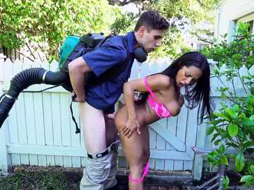 Babe with huge jugs Priya Price is screwed doggy style in the backyard