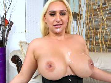 Luscious blonde whore Nina Kayy gets busted and sprayed with cum in the end