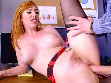 Fair red-haired slut Lauren Phillips is stimulated by the thick root in her bushy pussy