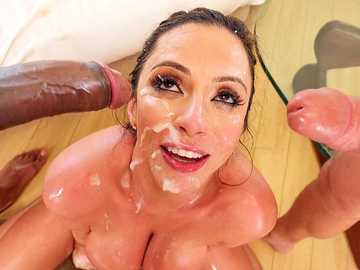 Busty MILF Ariella Ferrera does balls licking and handjob for a black cock