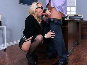 Attractive blonde in lingerie AJ Applegate shoves butt plug in her anus and sucks boss cock