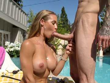 Busty Nicole Aniston is a blonde enjoying outdoor throat fucking by a pool
