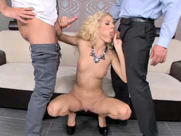 Spoiled Hungarian blonde Monique Woods wants to do blowjob in MMF threesome