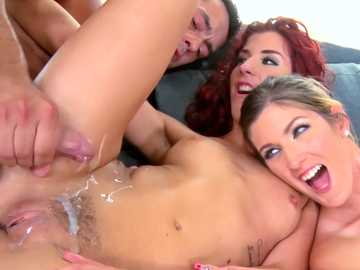 Redhead Mira Sunset and brunette Shona River pussy fucking wild in foursome