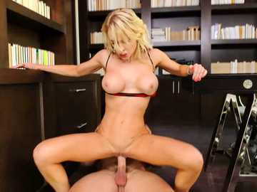 Skinny office babe Alix Lynx is pussy fucking in reverse cowgirl position