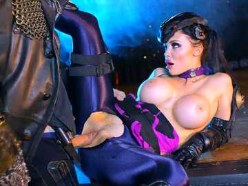 Overwatch porn depicts busty brunette Aletta Ocean in tight uniform fucking