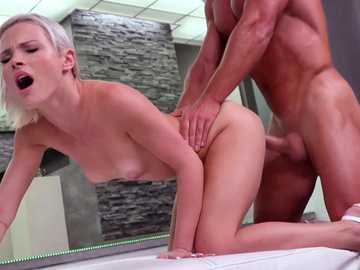 Hardcore pussy fucking gives Zazie Skymm a full load of cum upon her ass