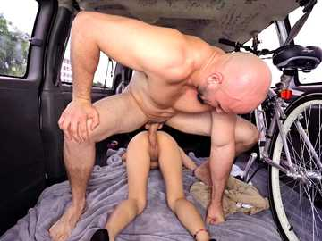 Teen amateur Mila Hendrix takes a ride on Bang Bus in doggy style position