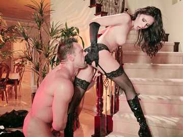 Seductive babe in black underwear Ariana Marie does lots of oral sex with Johnny Castle