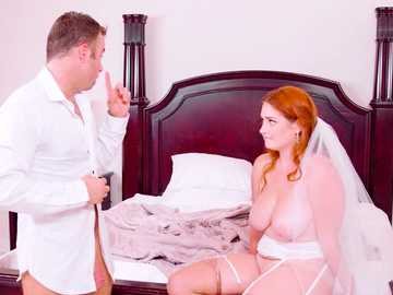 Seductive read-haired bride Lennox Luxe gets cum on her chin and big breasts