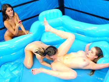19 yo girls Alexis Deen and Amber Gray wrestle naked, Sophia Leone watches