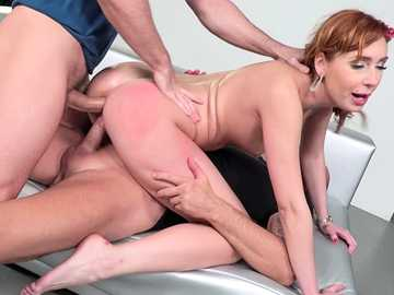 Horny Russian redhead Mia Cruise acts like pro sucking cocks for facials