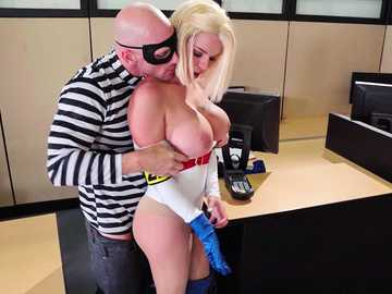 Busty blonde in superhero uniform Peta Jensen fucks battles Johnny Sins