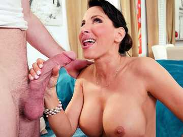 Young guy watches Lezley Zen undressing and swallowing his big shaft