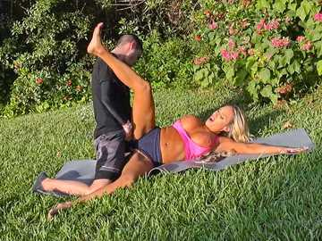 Yoga instructor Tegan James shows how her legs stretch and gets fucked by young man Tyler