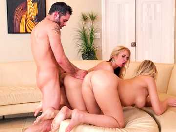 Blair Williams and Sarah Vandella let the prick in hardcore FFM threesome