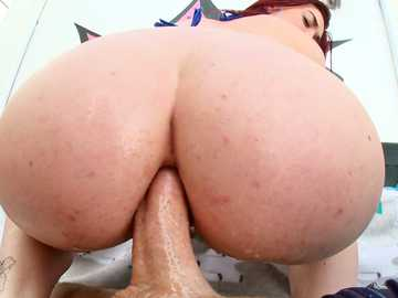 Kat Monroe pushes her loose big ass on thick cock of Mike Adriano outdoors