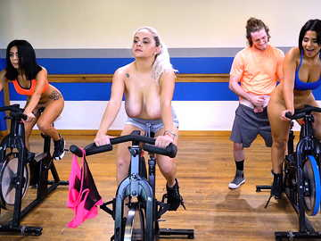Rose Monroe and other girls get licked by instructor while they exercise in the gym