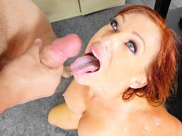 Full-chested babe Dani Jensen gives her employee a really hard time in the office room