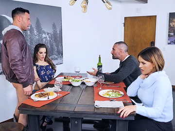 Young guy is caressed by GF Kimmy Granger and her new stepmother Krissy Lynn