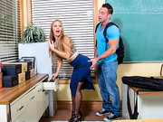 Johnny walks in on his teacher, Nicole Aniston, and is ready to fuck her. They have fucked ...